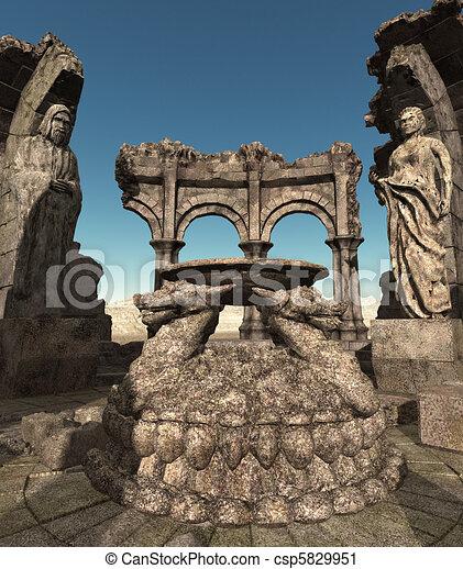 Fantasy temple ruins - csp5829951