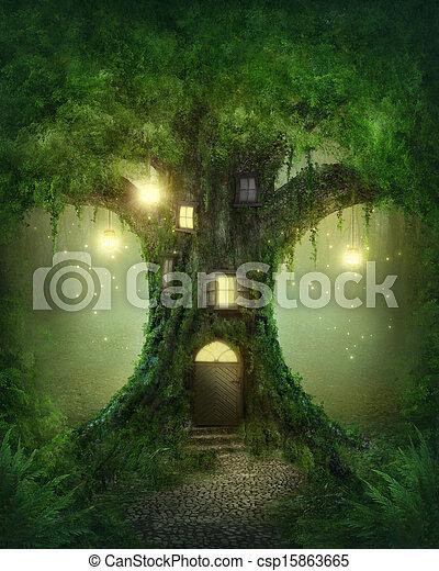 Fantasy tree house - csp15863665