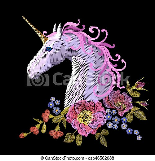 Fantasy unicorn embroidery patch sticker. Pink violet mane horse flower arrange poppy rose ornament. Cartoon badge magic vector illustration - csp46562088