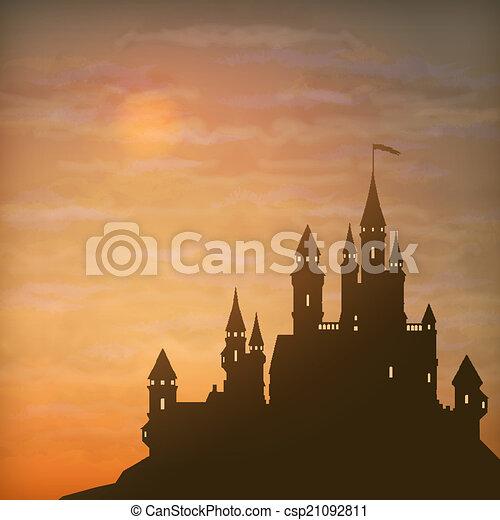 Fantasy Vector Castle Moonlight Sky - csp21092811