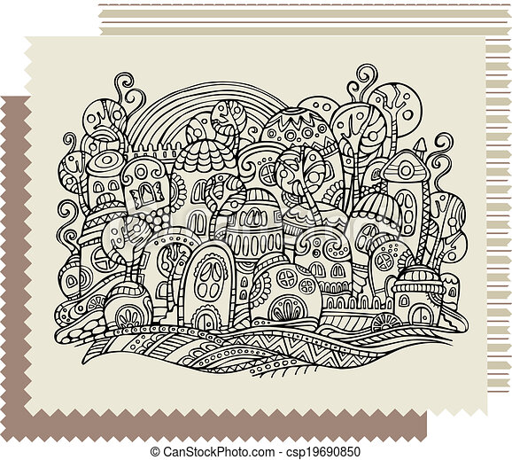 fantasy vector fairy-tale drawing town - csp19690850