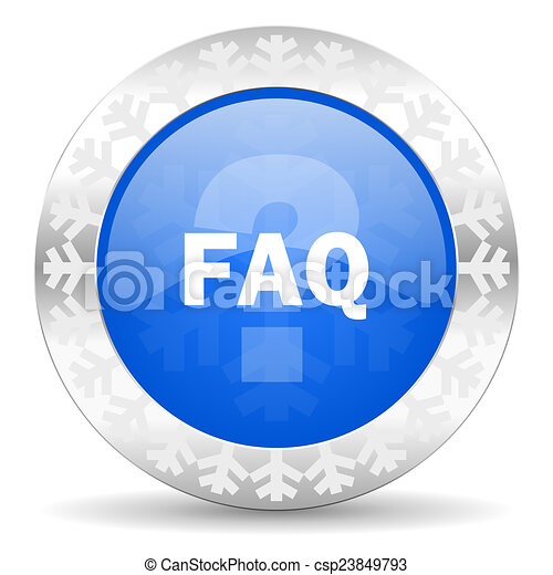 faq blue icon, christmas button - csp23849793