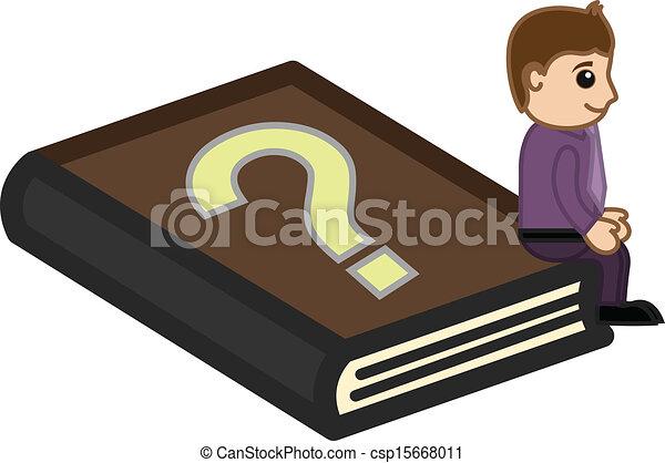 FAQ Book - Business Cartoon - csp15668011
