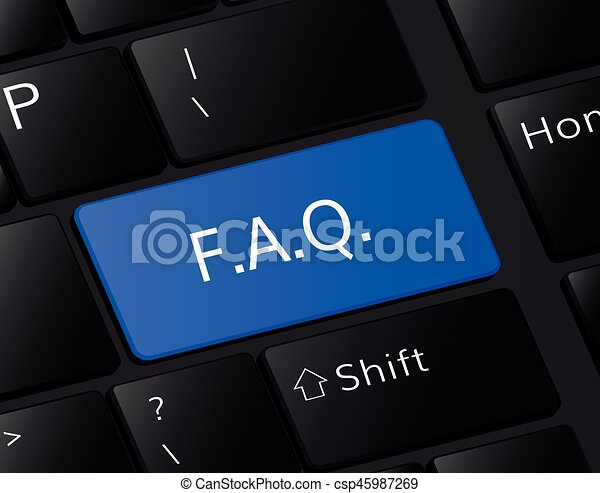F.A.Q. button on keyboard. F.A.Q. concept . Question illustration - csp45987269