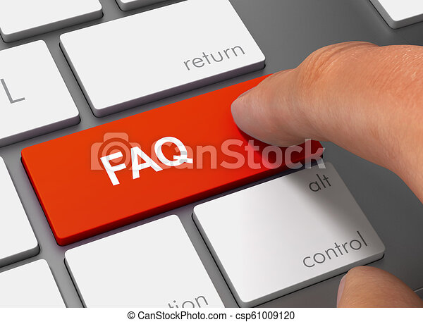 faq pushing keyboard with finger 3d illustration - csp61009120