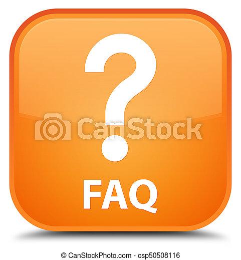 Faq (question icon) special orange square button - csp50508116