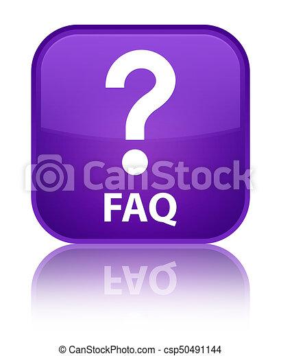 Faq (question icon) special purple square button - csp50491144
