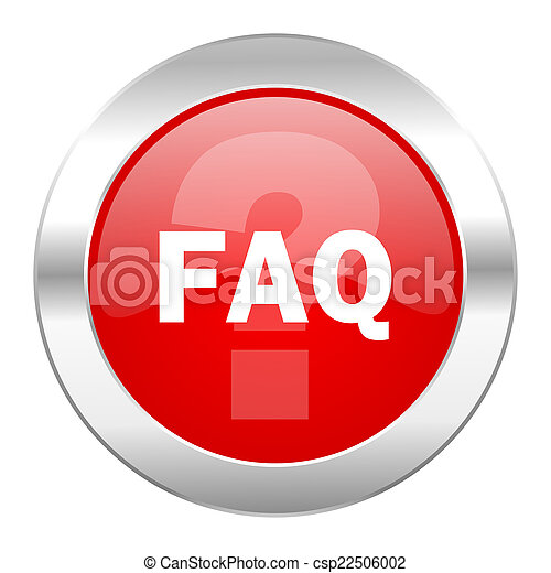 faq red circle chrome web icon isolated - csp22506002