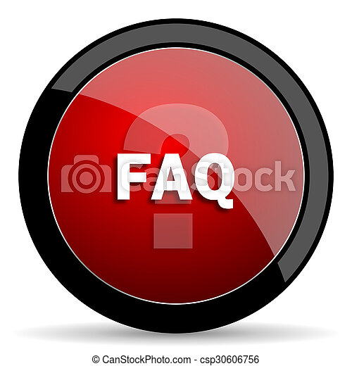 faq red circle glossy web icon on white background - set440 - csp30606756
