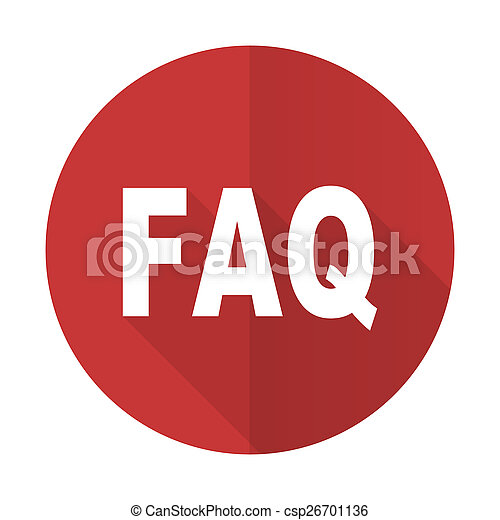 faq red flat icon - csp26701136