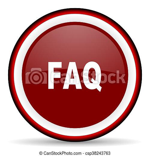 faq round glossy icon, modern design web element - csp38243763