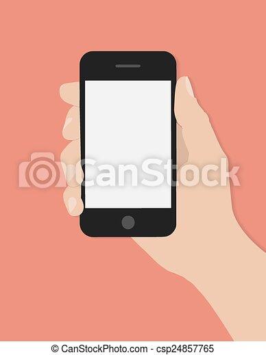 far male, tenendo mano, telefono - csp24857765