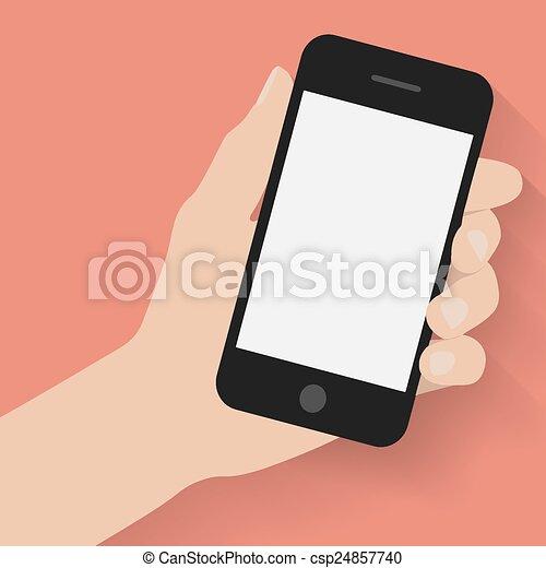 far male, tenendo mano, telefono - csp24857740