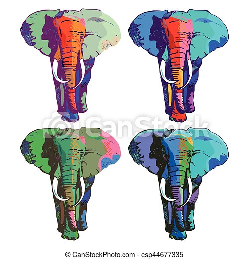 Farb-elephant.eps. Four colorful elephants drawing vectors - Search ...