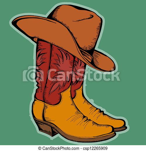 Cowboy Stiefel und Hut.Vector Farbe Illustration isoliert für Design - csp12265909