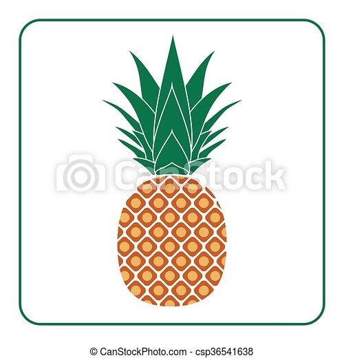 Farbe, ananas, blatt, ikone. Exotische , lieb, design, logo ...