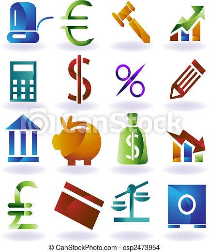 farbe, bankwesen, satz, ikone - csp2473954