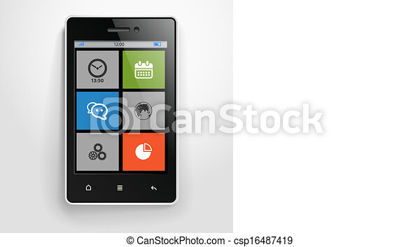 farbe, beweglich, modern, schnittstelle, telefon - csp16487419
