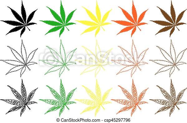 Farbe, blatt, satz, -, marihuana EPS Vektoren - Suche Clipart ...