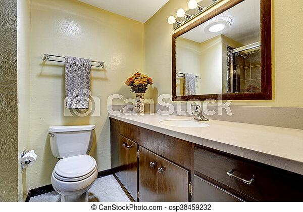 Farbe, brauner, badezimmer, wände, beige. Brauner,... Stockfotos ...