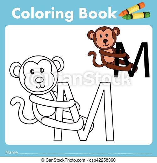 Farbe, buch, illustrator, affe, tier. Illustrator, affe,... Clipart ...