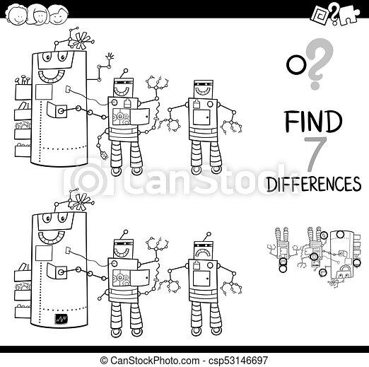 Farbe, buch, unterschiede, roboter, charaktere.... EPS Vektoren ...