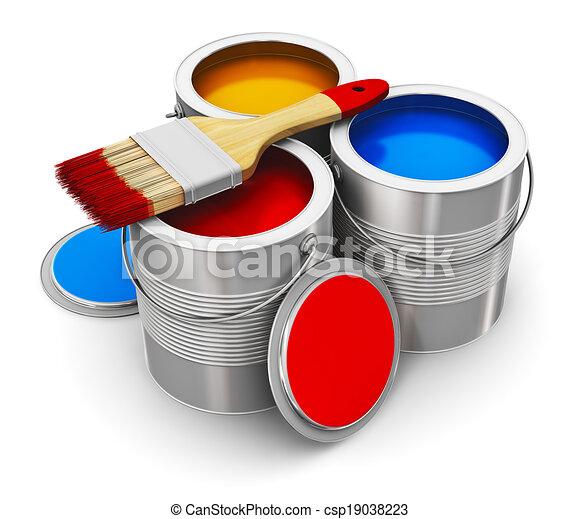 Farbe Dosen Malen Pinsel Farbe Metall Freigestellt Zinn Malen