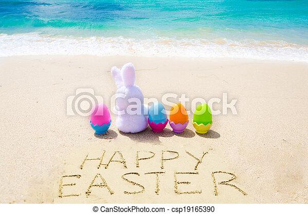 """farbe, eier, easter"""", zeichen, """"happy, sandstrand, kaninchen - csp19165390"""