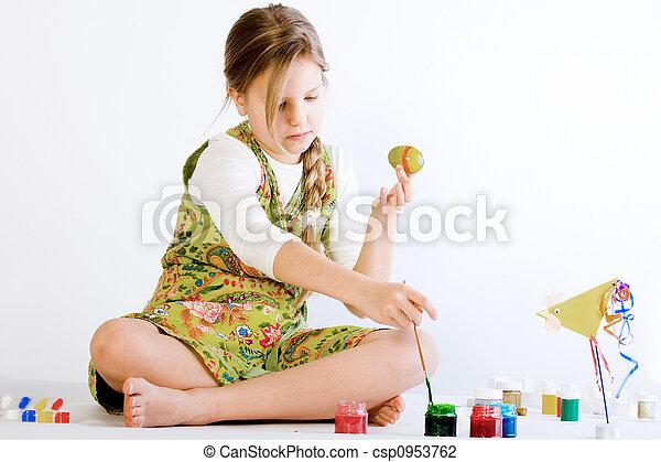Farbe, eier, junges mädchen, spielende . Eier, junger,... Stockfoto ...