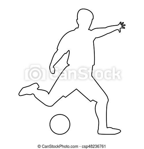 Farbe, fußballspieler, schwarz, ikone. Farbe,... Clipart Vektor ...