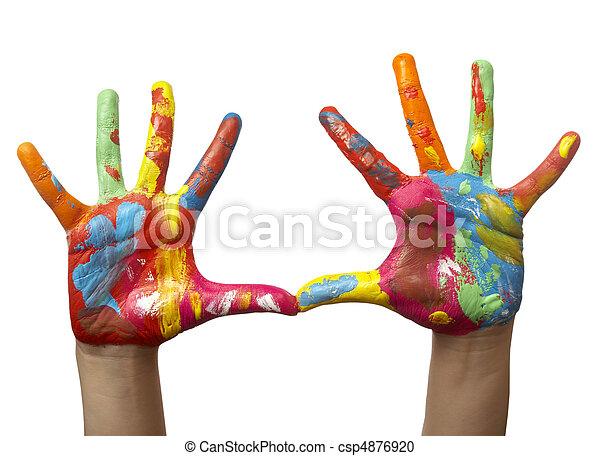 Farbe, gemalt, kind, hand. Ausschnitt, gemalt, hände ...