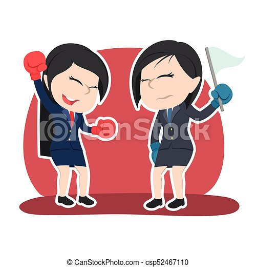 Chinesische Geschäftsfrau boxt Gewinnerfarbe - csp52467110