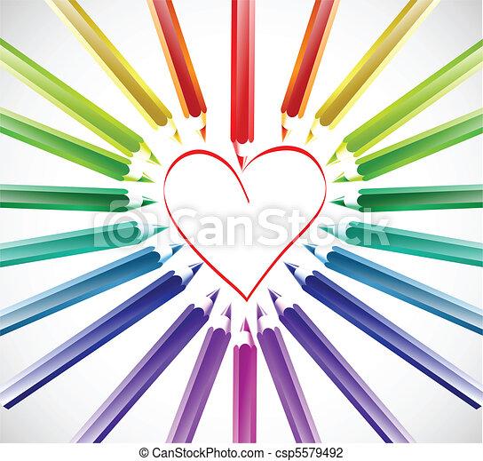 farbe, herz, vektor, pencils. - csp5579492