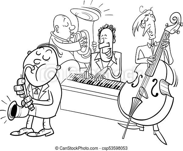 Farbe, jazz, buch, charaktere, musiker, spielende . Färbung ...