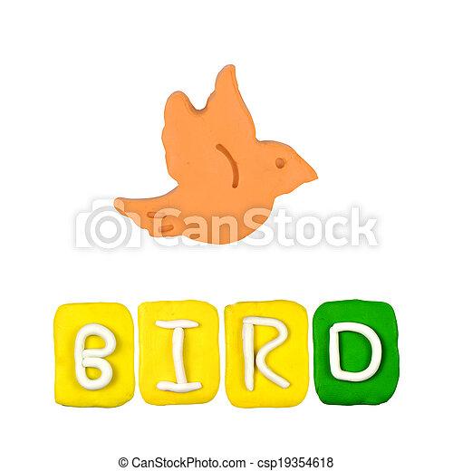 Farbe, kinder, hintergrund, plastilin, weißer vogel Stockfotografie ...