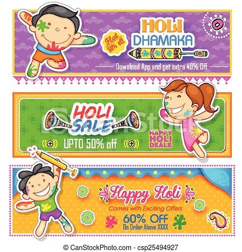 Kinder spielen Holi mit Farbe und Pichkari - csp25494927