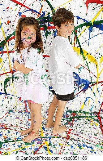 Farbe, kinder. Koerper, junge, voll, background;,... Stockbild ...