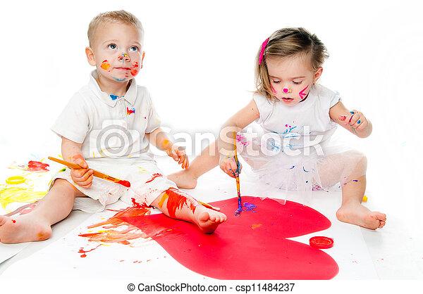 Farbe, kinder. Gemälde, kinder, freigestellt Stockfotos - Suche ...