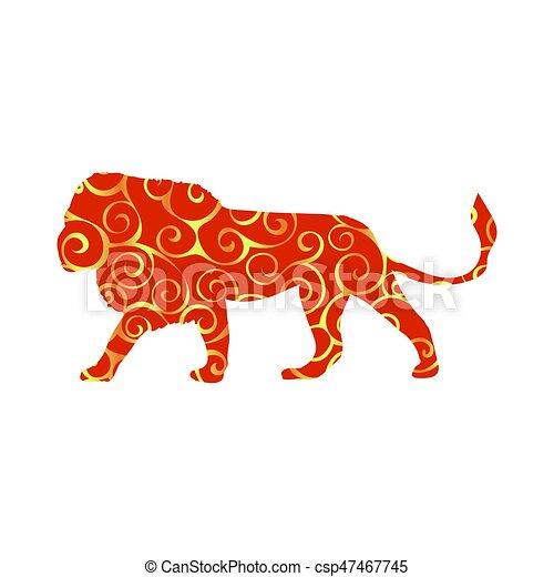 Farbe, löwe, silhouette, raubtier, tier. Silhouette, farbe,... EPS ...