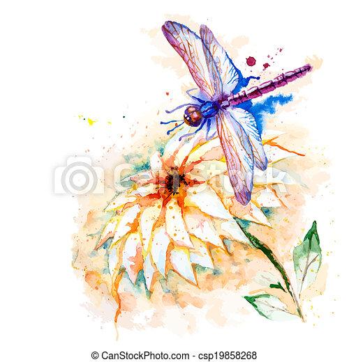 Farbe, libelle, blume, seerose. Schöne , libelle, blume,... Clipart ...