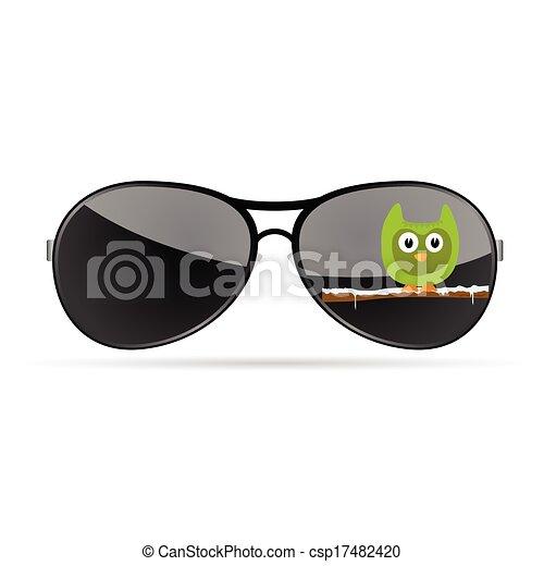 Farbe, lustiges, vektor, sonnenbrille, tier. Lustiges,... Vektor ...