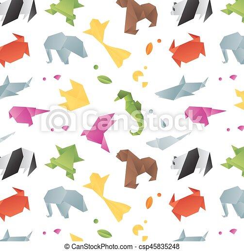 farbe origami tiere muster affe fische seahorse. Black Bedroom Furniture Sets. Home Design Ideas
