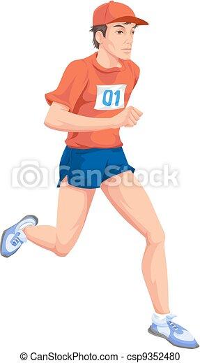 farbe, rennender , mann, abbildung - csp9352480