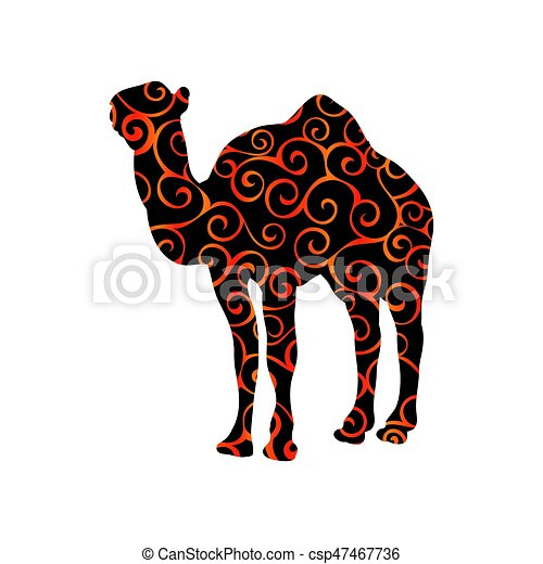 Farbe, säugetier, silhouette, tier, kamel. Silhouette,... Vektoren ...
