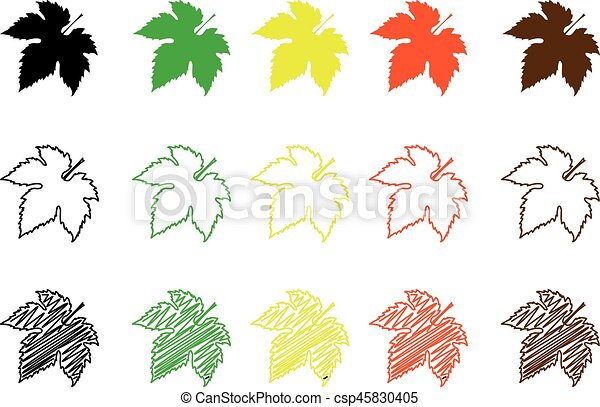 Farbe, satz, blatt, feige. Blatt, farbe, blatt, -, satz,... Vektor ...
