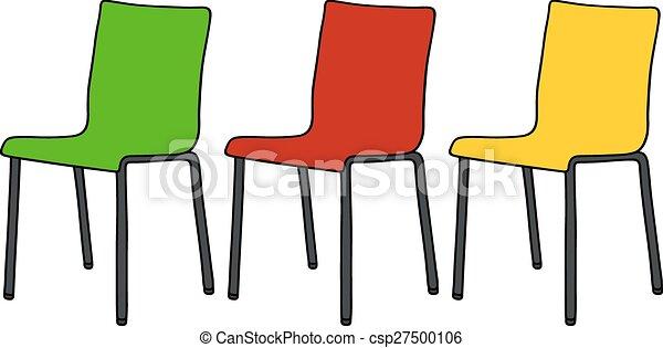 Stühle clipart  Vektor Clipart von farbe, stühle - Hand, zeichnung, von, drei ...