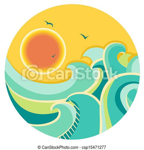 farbe, symbol, sonne, weinlese, wasserlandschaft, runder  - csp15471277