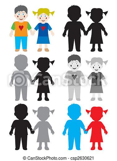 Farbe, weißes, kinder, schwarz, glücklich. Kinder, farbe,... Vektor ...
