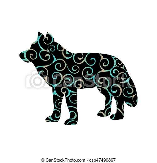 Farbe, wolf, silhouette, raubtier, tier. Silhouette, farbe ...