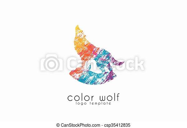 Farbe, wolf, tier, logo, logo., design. Vektoren - Suche Clipart ...